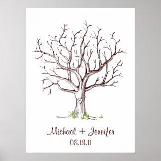 Affiche d'arbre d'empreinte digitale de mariage posters