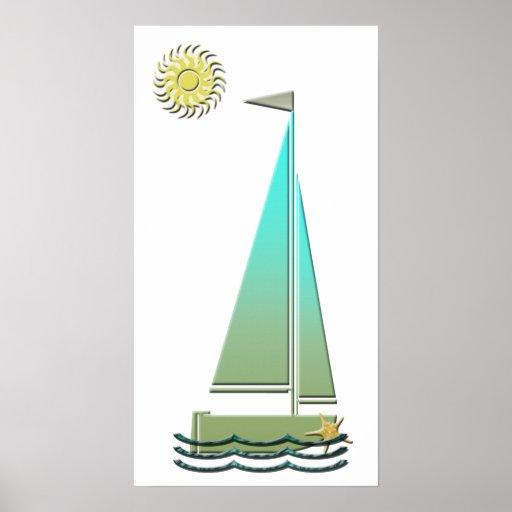 Affiche d'art de bateau à voile