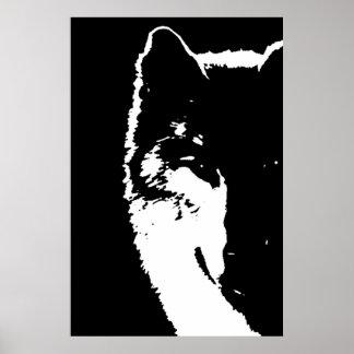 Affiche d'art de bruit d'oeil de loup noir et