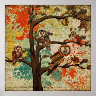 Affiche d'art de chêne de hibou