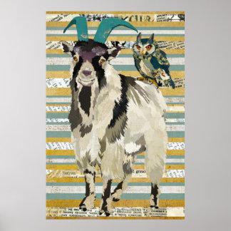 Affiche d'art de chèvre et de hibou de Billy