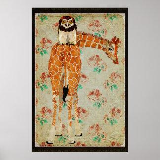 Affiche d'art de faucon de girafe et de hibou
