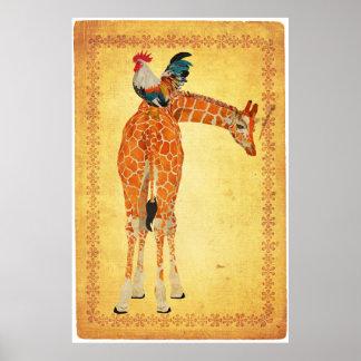Affiche d'art de girafe et de coq