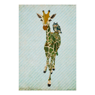 Affiche d'art de girafe et de hibou de jade