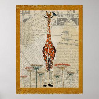 Affiche d'art de GIRAFE et d'OISEAU d'INDIGO