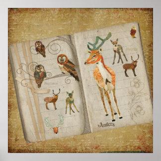 Affiche d'art de livre de croquis de cerfs communs