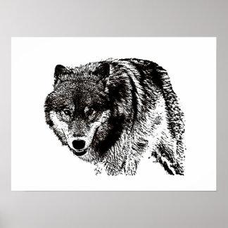 Affiche d'art de loup noir et blanc