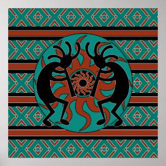 Affiche d'art de mur de turquoise de Kokopelli de