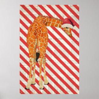 Affiche d'art de Noël de sucre de canne de girafe
