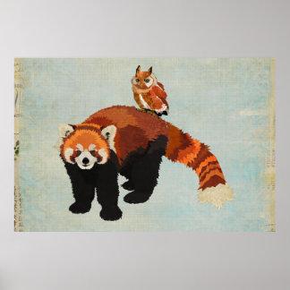 Affiche d'art de panda rouge et de hibou