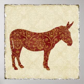 Affiche d'art de silhouette d'âne de damassé