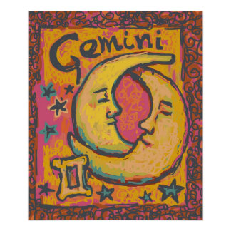 Affiche d'art de zodiaque de Gémeaux