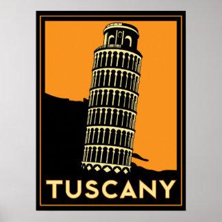 affiche d'art déco de la Toscane Italie rétro
