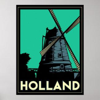 affiche d'art déco de l'Europe de moulin à vent de