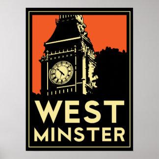 affiche d'art déco de Londres Westminster Angleter