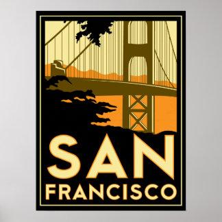affiche d'art déco de San Francisco rétro
