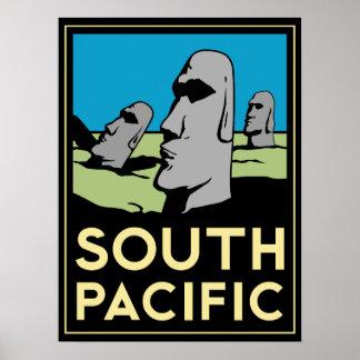affiche d'art déco d'île de South Pacific Pâques r