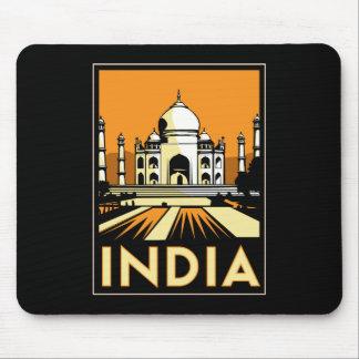 affiche d'art déco du Taj Mahal Inde rétro Tapis De Souris