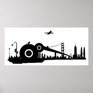 Affiche d'avion de ville de moineau - colossale