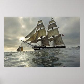 Affiche de bateau à voile d'océan