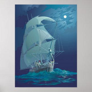 Affiche de bateau de voile de clair de lune