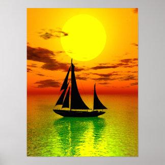Affiche de bateau de voile de coucher du soleil