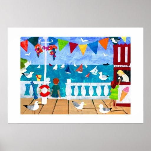Affiche de bord de la mer