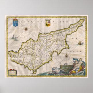 Affiche de carte de la Chypre 1635 Posters