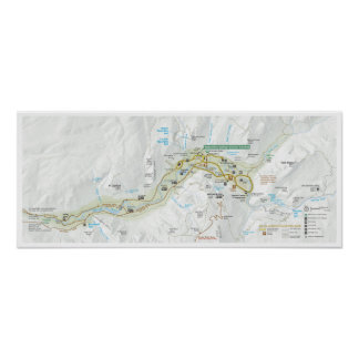 Affiche de carte de vallée de Yosemite Poster