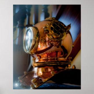 Affiche de casque de plongeurs de mer profonde