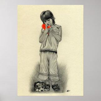 Affiche de chiot de garçon du coeur brisé