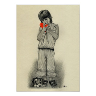 Affiche de chiot de garçon du coeur brisé posters