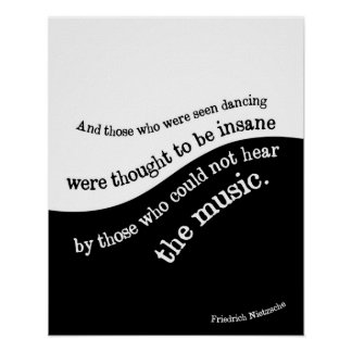 Affiche de citation de Friedrich Nietzsche noire Posters