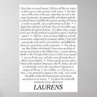 Affiche de citations de John Laurens Poster