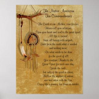 Affiche de commandements du Natif américain Dix Posters