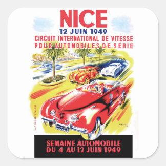 Affiche de course d'automobile de circuit de 1949 sticker carré