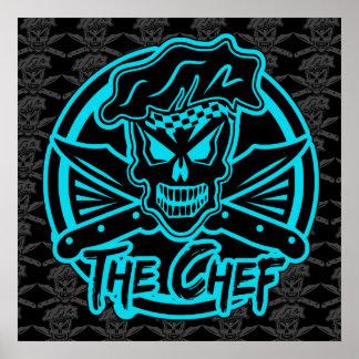 Affiche de crâne de chef Bleu au néon