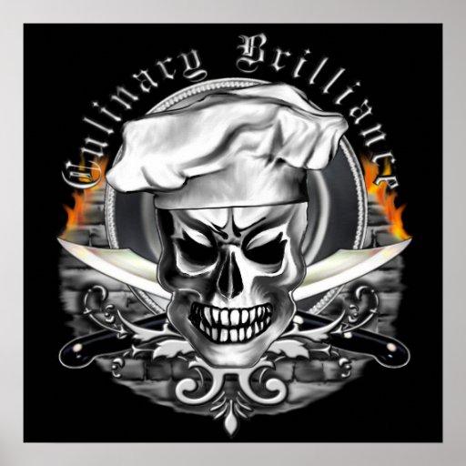 Affiche de crâne de chef : Brillant culinaire
