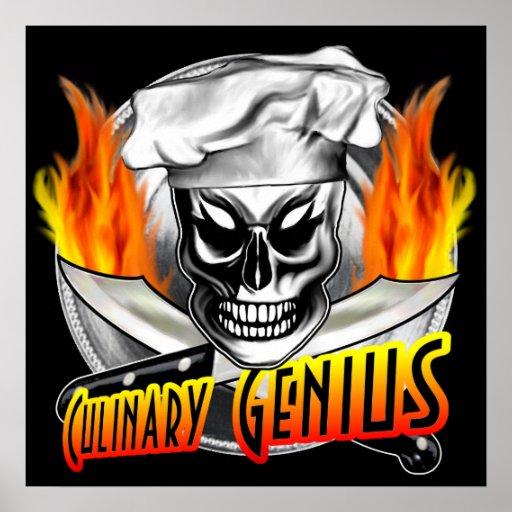 Affiche de crâne de chef : Génie culinaire