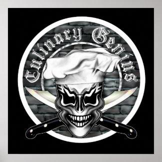 Affiche de crâne de chef Génie culinaire