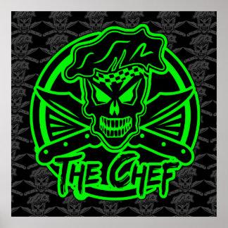 Affiche de crâne de chef Vert de néon