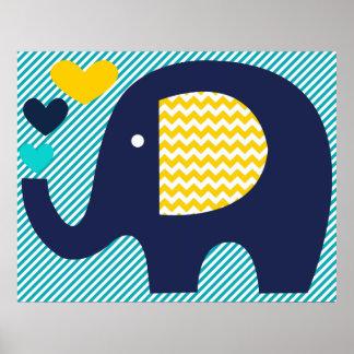 Affiche de crèche de marine et d'éléphant de Teal Posters