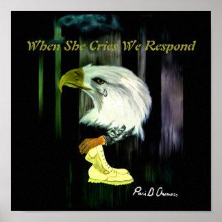 Affiche de cris d'Eagle d'Américain Poster