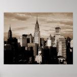 Affiche de croquis d'encre de New York City de sép