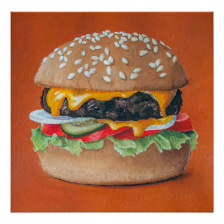 Affiche de cuisine d'illustration d'hamburger posters