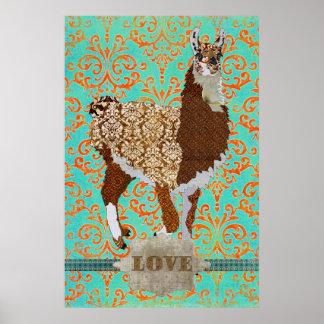 Affiche de damassé d'amour de lama