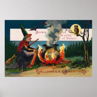Affiche de décor de partie de hibou de chat noir posters