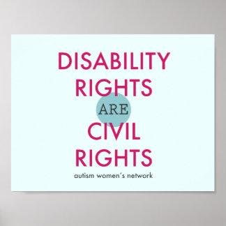 Affiche de droites d'incapacité poster