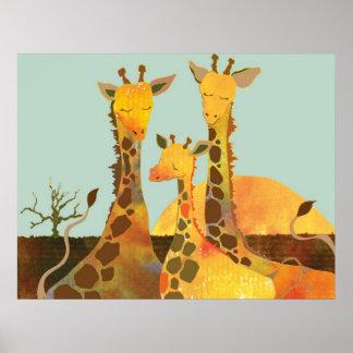 Affiche de famille de girafe