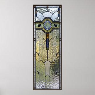 affiche de fenêtre en verre teinté d'art déco de